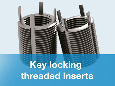 Key locking threaded inserts